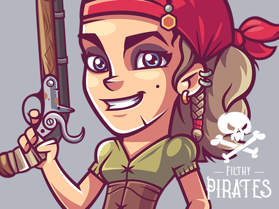 Rosa girl pirate game funny character illustration vector