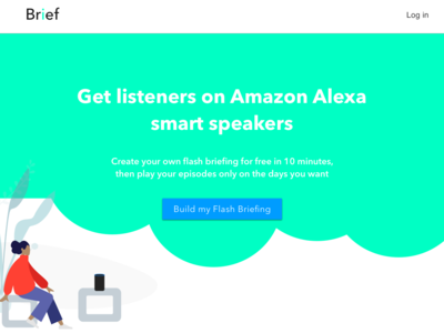 Landing page for Alexa Flash Briefing builder