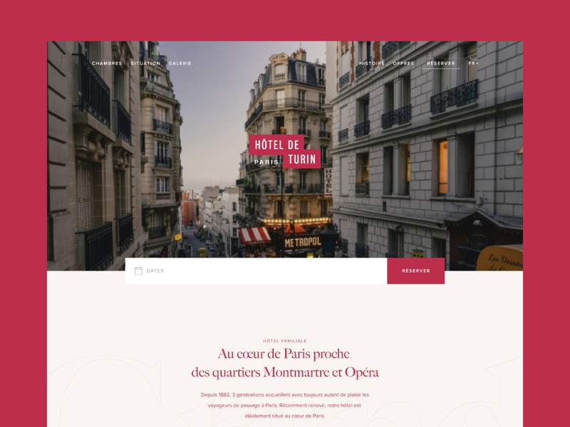 Hôtel de Turin #1 branding web design ui design header design whitespace minimal layout grid simple clean hotel typography homepage website web responsive page menu