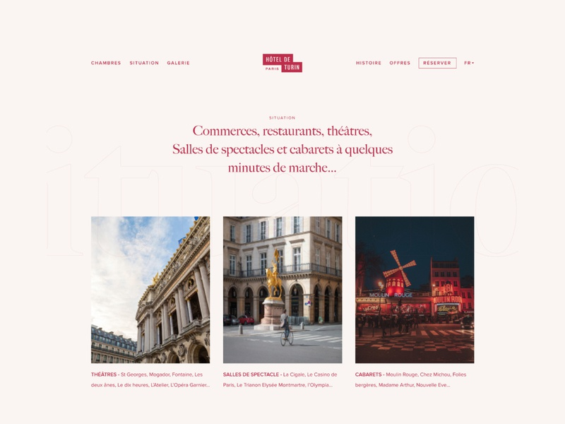 Hôtel de Turin #3 branding web design ui design header design whitespace minimal layout grid simple clean hotel typography homepage website web responsive page menu