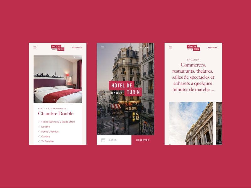 Hôtel de Turin #4 mobile ui website web design web ui design typography simple responsive mobile minimal menu layout hotel homepage grid design clean branding