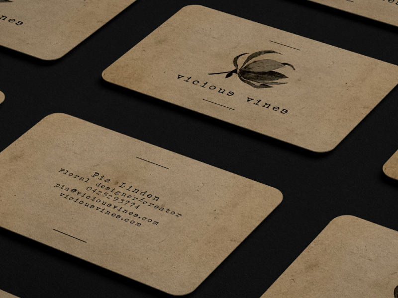 Logo and business cards typewriter stationary vines peony graphic design floral rustic brand identity branding brand designer design graphic logotype logo business cards craft paper