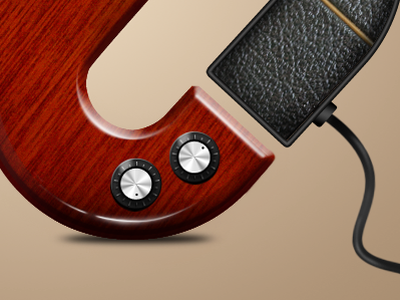 logo based on amp and guitar logo photoshop graphic music amplifier guitar dials leather wood icon