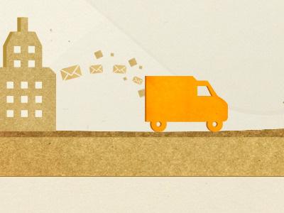 Paper-based illustration paper texture van building office brown paper logistics letters envelope