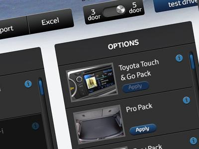 Car configuration UI - work in progress car configure options ui ux gui website app