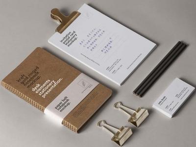 Free Desk Elements Stationery Mockup