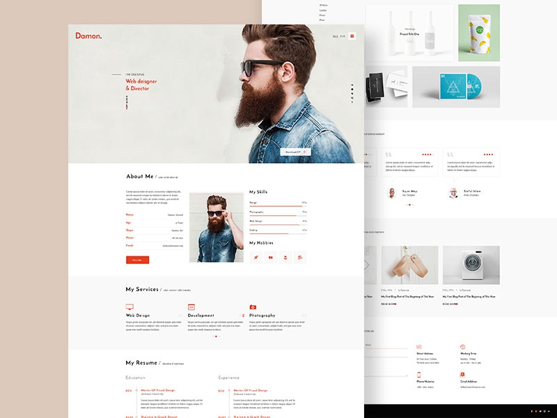 damon  resume template design by nazmul islam sujan