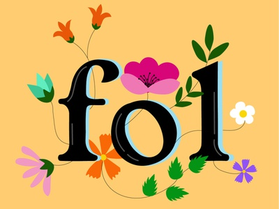 Fol in flowers ilustration letters sign flowers