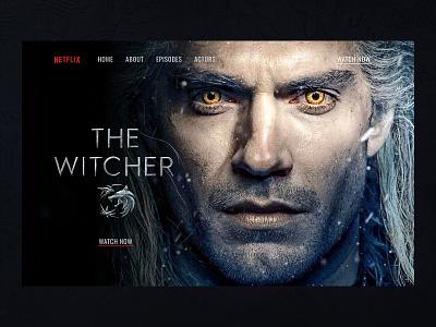 The Witcher netflix actor serials dark theme dark clean web design webdesign website landing page main page ui design concept witcher the witcher