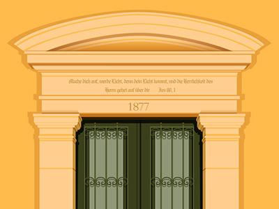 16 Emek Refaim - German Colony doors vector jerusalem old illustrator german architecture classic