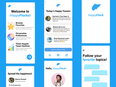 HappyFlocks - Daily Twitter Inspiration inspire conversations illustration ios flat minimal figma twitter