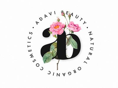Adavi Beauti #1 (Var.1) organic minimal makeup cosmetic brending typography ab logo letter flower boutique