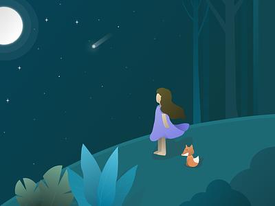 starry night vector illustration