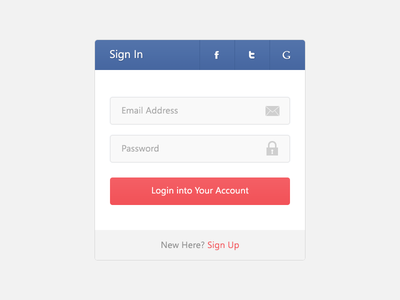 Flat Login - PSD flat design login psd template social login tooltip flat user interface user experience widget member area