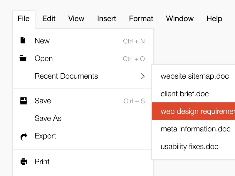 Menu Design - Free PSD  dropdown menu sub menu flat menu flat design menu design