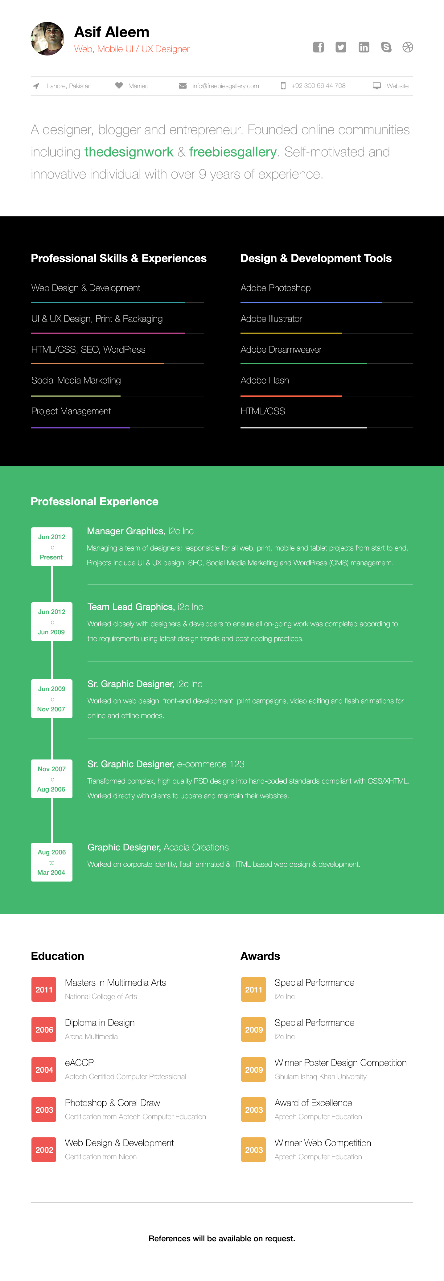 One Page Web Resume Template  1 Page Resume