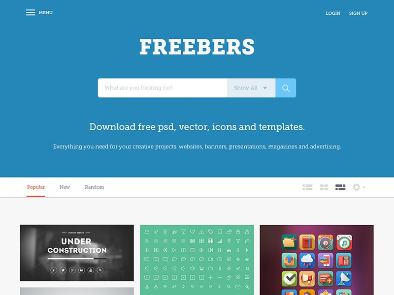 Freebers - Free Web Template (PSD) freebies psd template web design search engine graphic design flat design web template landing page search filter tabs