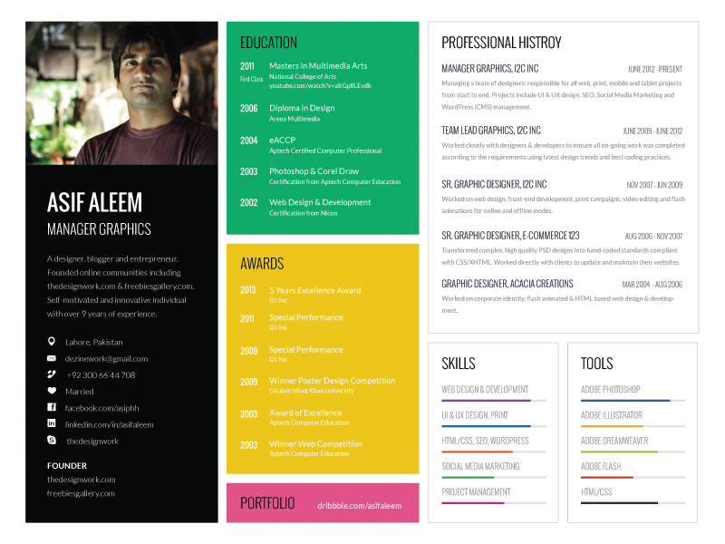 Dribbble  Single Page Resume