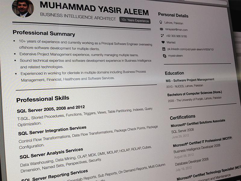 Resume Business Intelligence Architect By Asif Aleem On Dribbble