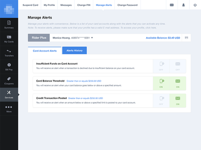 Manage Alerts / Notifications alerts notifications ui user interface toggle switch tabs settings