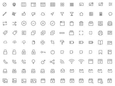 300 iOS and Android Vector Icons icons outline vectors trash app inbox printer home icon