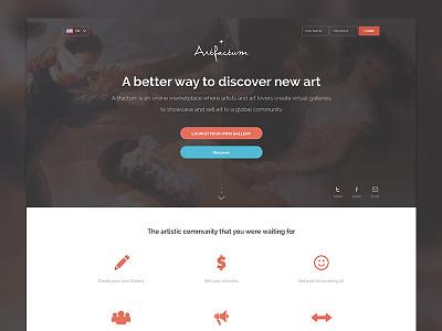 Artfactum Landing Page Design homepage landing page home design product design art lovers web design website layout website design art product designer website landing page web layout