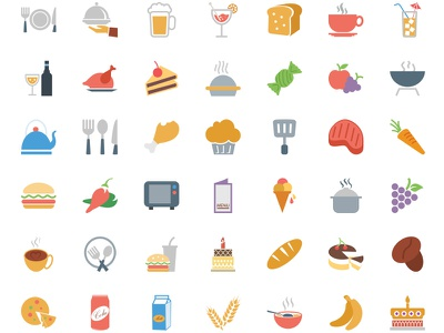 250 Colored Food Vector Icons food illustrations icons flat design colorful colored icons hotel restaurant drinks vectors illustration flat icons