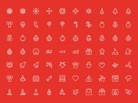 Merry Christmas Outline Vector Icons