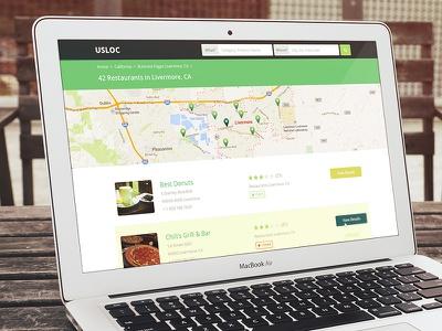Business Listing Page - USLOC listing google map pins sub heading location rating website layout web design product design