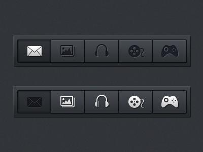 Navigation Menus (PSD) menu navigation dark black icons ui ux ui design design usability buttons psd template