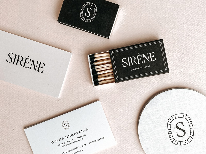 Sirène Branded Goods icon design business card matches coasters layout art direction mark graphic design logo branding typography
