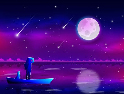 Night colorful sky and moon Illustration