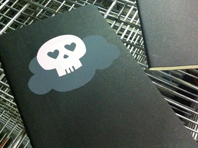skullcloud notebook skull cloud pink screen print notebooks