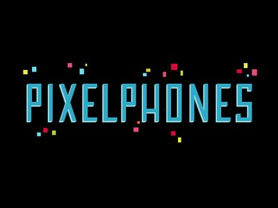 pixelphones project logo work lettering blue pixels rgb square