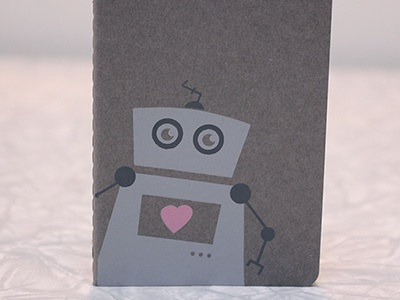 Robot Notebook In Grey screen print robot moleskine pink grey