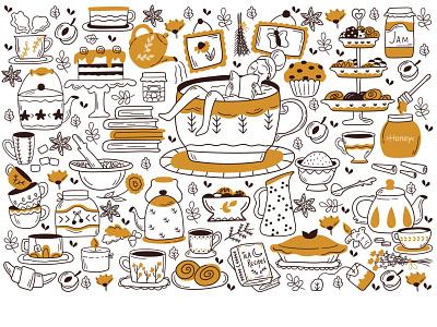 🍂 Drinking tea 🍂 doodles black and white pattern girl line art line cute cafe tea vector art character art design vector fun illustraion minimal comic cartoon doodle
