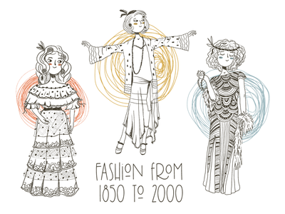 Fashion from 1850 to 2000 character design artwork stock fashion illustration fashion characters book line vintage girl book illustration line art graphic design illustration design character art