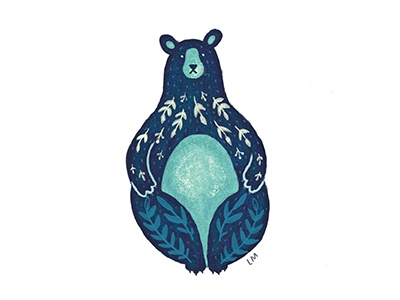 Folk Bear floral digital painting illustration bear animals folk art