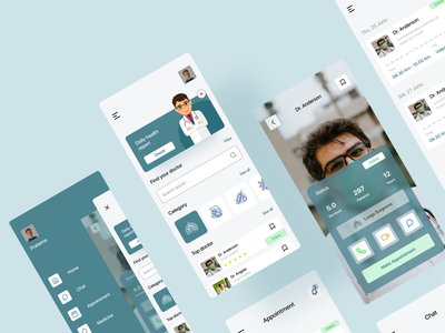 Doctor appointment mobile app - exploration doctor appointment doctor app uiuxdesign illustration cleaning clean ui doctor health app medical simple design uidesign ui app ux minimal design