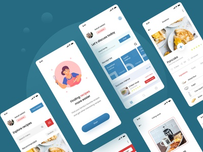Food recipes app figma recipes app food illustration food app food simple design uiux uidesign app ui ux minimal design