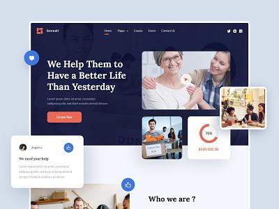 GAVEALL - Charity Website web web design overlapping ui design designer donation homepage charity hero section website clean ui uiux uidesign ux design ui minimal