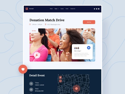 Gaveall - Detail event clean charity simple design clean ui website design web design web uidesign design ui minimal