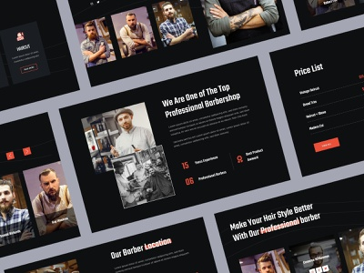 Hairbrosh Final - Barbershop & Hairstyle Website uiuxdesign barber landingpage dark theme style barbershop website design website uiux uidesign ui design