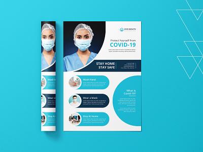 Covid-19 Flyer flat typography vector medical icon print design template flyer design design illustration logo branding