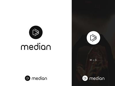 Play+M Letter Logo concept letter b logo media logo play logo letter logo minimal flat vector typography branding illustration logo
