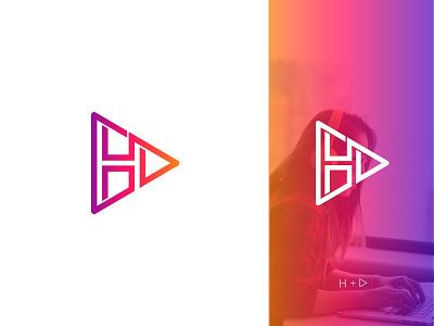 H + Play Logomark template music logo play logo play identity h letter logo h logo letter logo logotype logo design lettermark flat minimal typography vector branding dribbble design logo illustration
