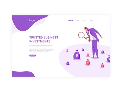 Investments web landing page