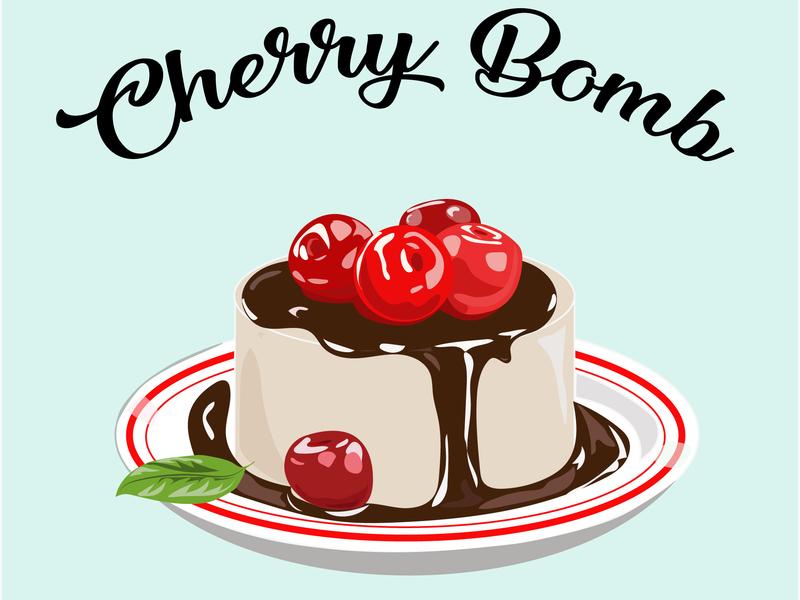 Cherry Bomb green brown red delicious yummi plate bomb cherry chocolate cake illustraion