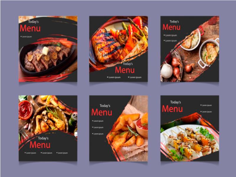 Menu food web design menu card menu bar