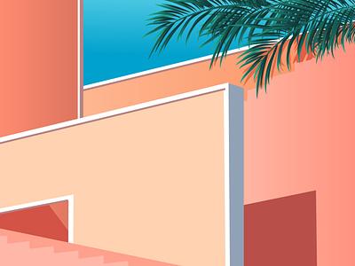 summer mood green blue orange pink walls summer mood colorful illustration